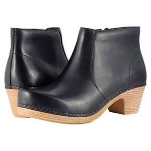 Dansko Maria Clog Bootie in Smooth Black Leather